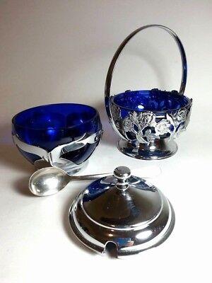 VINTAGE FARBER BROSS NEW YORK N.Y BLUE GLASS CHROME SUGAR BOWL W LID AND BASKET