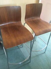 Dwell walnut bar stool chairs