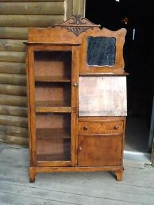 ANTIQUE SIDE BY SIDE SECRETARY DESK/BOOKCASE