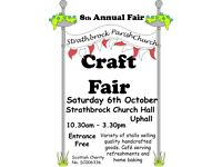 Annual Craft Fair, Sat 6th Oct, 10.30am to 3.30pm, Strathbrock Church Hall, Uphall, EH52 6BY