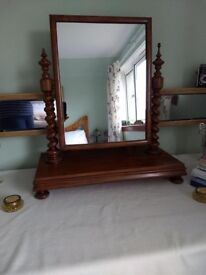 Large Victorian Table Mirror with Barley Twist Supports.