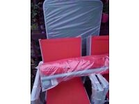 NEW UNUSED red 6/8 piece garden furniture set,6 armchairs large oblong table & xl parasol never used
