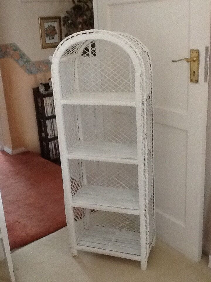 White Wicker Storage Bookcase Shelves Display Unit Shabby Chic - White Wicker Storage Bookcase Shelves Display Unit Shabby Chic