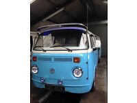 T2 Bay Window Stretch Camper, Professionally built with cream leather throughout and many extras.