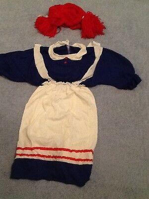 Raggedy Anne Rag Doll Womens Halloween Dressup Costume Dress &Wig  s-m](Rag Doll Dresses Halloween)