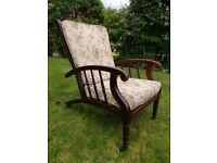 Rare Arts and Crafts,James Shoolbred recliner chair. Morris and Co design