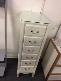 Elysee Plain Front Narrow Chest Of 6 Drawers