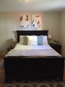Queen size bed frame and night stand.
