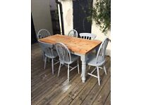 Farmhouse shabby chic trendy Paris grey mix n match solid pine table and 6 chairs