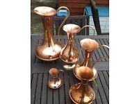 6 X Vintage Copper & Brass Jugs