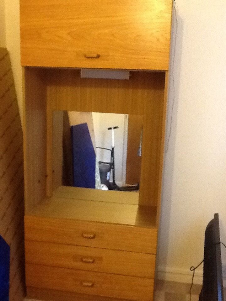 wooden wardrobe and draws with mirrorFREE pickupin Cardiff City Centre, CardiffGumtree - wooden wardrobe with draws and mirror. old but functional. not sure if electric light works. free to pick up. thanks