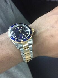GENUINE rolex submariner BI METAL 2001-ON BOX AND SERVICE PAPERS GOOD CONDITION