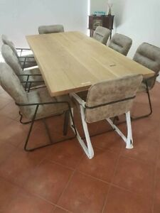 NEW VEGA RAW OAK DINING TABLE SET WITH CHAIRS