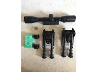 Large rifle scope, and accessories