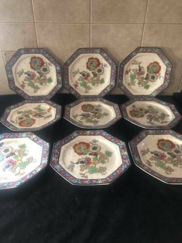 "Rare Antique CROWN DUCAL Octagonal Plates with Blue Trim 8.5"" - Set of 9"