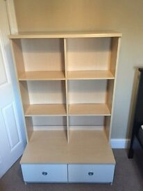 Bedroom shelving unit with two drawers.Excellent condition.