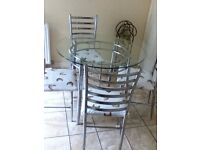 Glass & Chrome Kitchen Table & 4 Chairs