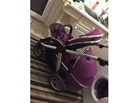 Oyster max tandem double pushchair in grape