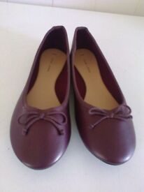 ladies new look burgundy ballerina shoes has bow size 7 brand new