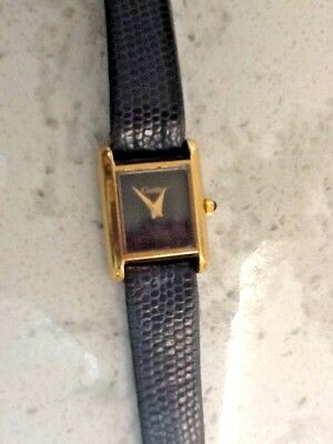 VINTAGE CARTIER TANK 18K YELLOW GOLD ELECTROPLATED WIND-UP LADIES WATCH