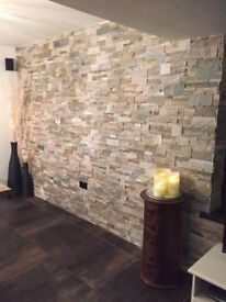 REAL STONE WALLCLAD (EASY TO INSTALL+COMES IN A RANGE OF COLOURS) CAN BE USED INTERNALLY+EXTERNALLY