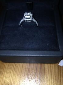 Huxley, Halo Princess Diamond Engagement Ring Platinum 1.4ct