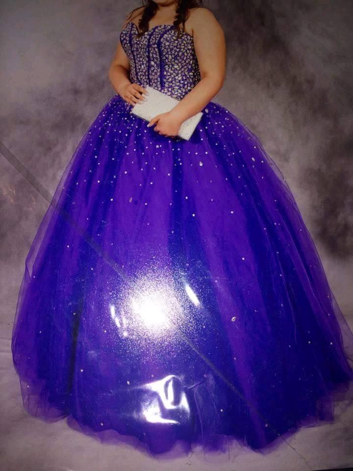 Purple diamante sweetheart princess prom/bridesmaid dress, fits size ...