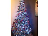 8ft White Flocked Christmas Tree Used Once
