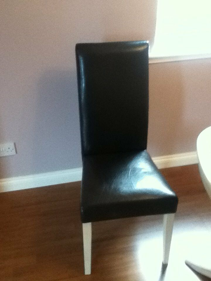 4 Chairs - Faux Leather - Light Oak Legs - £40 for all 4 (or £10 each)
