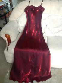 4 burgundy/red dresses with matching shawls, used. Sizes 14x1, 12x3