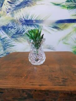 Gorgeous crystal candle holder with synthetic greenery