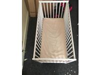 White cot with mattress & mattress topper. Impeccable condition. Smoke and pet free house