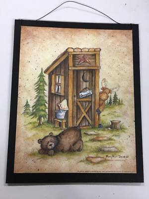 Bear moose occupied outhouse wood sign country bathroom decor decorations cabin  - Country Decorations