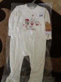 My First Christmas SLEEPSUIT X2 BNWT 9- 12 months