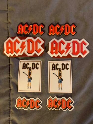 """Lot of (8) AC/DC 1"""" to 3 1/2"""" Band Logo Stickers FAST! FREE SHIP! Angus Young"""
