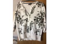 NEW FLORENCE + FRED FLORAL CREAM + BLACK CARDIGAN, SIZE 6