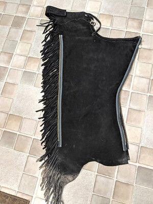 Western Black Suede Leather Show Chaps FRINGE Pleasure Rail Equine Zipper Sz Lg