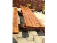 Garden picnic bench/table/sleepers/tree trunks