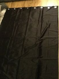 Black faux silk lined curtains