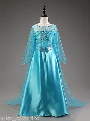 Frozen Elsa Floor Length Girl Fancy Dress Long Cape Disney Cartoon Costume Gift ()