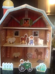 Farm barn doll house style wood set large