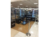 2 glass Tall counters. perfect for Jewellery shop or Mobile shop. LED!!! BARGAIN. LOCKS ON GLASS
