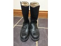 AKITO BLACK LEATHER BIKER BOOTS SIZE 6 (40)