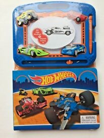 hot wheels story book & magnetic drawing kit age 3 yrs brand new