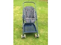 Pushchair - mothercare navy check fold up pushchair with accessories
