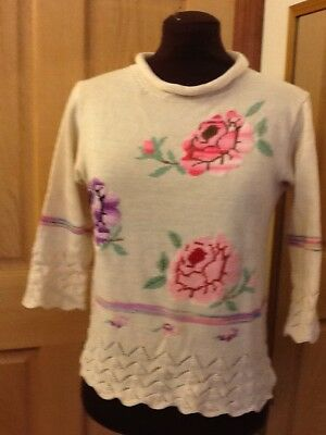 lovely Knitted Cotton Top With Counted stitch Embroidery, handmade size - Lovely Handmade White Blouse