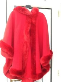Red Poncho Hooded with Faux Fur Trim