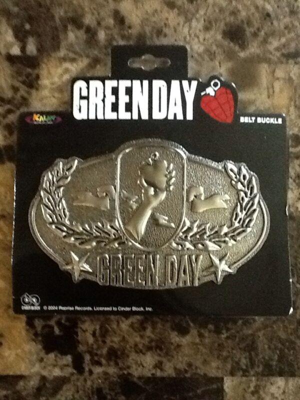 Official Green Day Olive Branch / Lightning Bolt Heart Metal Belt Buckle