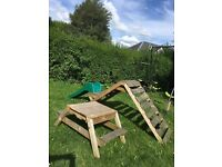 Kids climbing frame with sandpit/bench