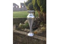 Stunning XL Silver Mirror Mosaic Floor standing display Vase. Hotel, wedding, corporate events.
